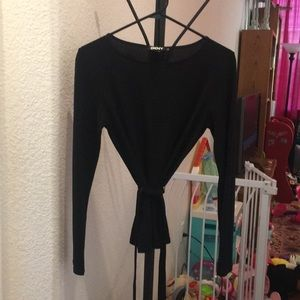 DKNY Black Wrap Blouse Size Small